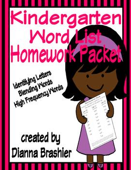 Kindergarten Word List Identifying Letters, Blending Words, and Sight Words