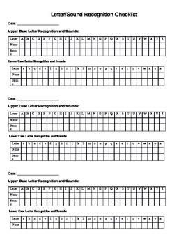 Kindergarten Letter Sound Recognition Checklist