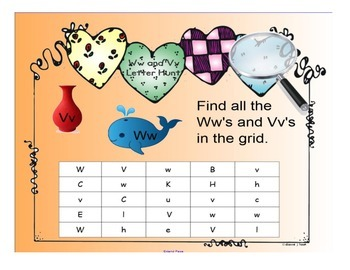 Kindergarten Letters:  Focus Ww and Vv
