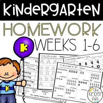Kindergarten Homework NO PREP Weeks 1-6