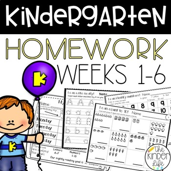 Kindergarten Homework NO PREP Weeks 1-6