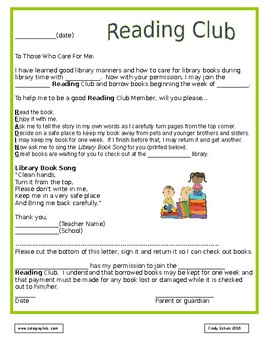 Kindergarten Library Check Out Letter
