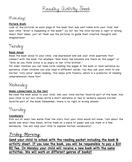 Kindergarten Literacy Activity Homework Sheet