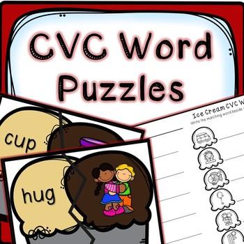 Kindergarten Literacy Center - CVC Word Puzzles - Self Correcting Puzzles