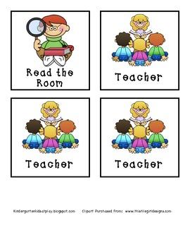 Kindergarten Literacy Center Cards for Management