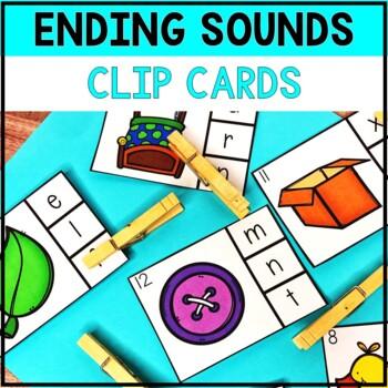 kindergarten literacy center ending sound clip cards tpt