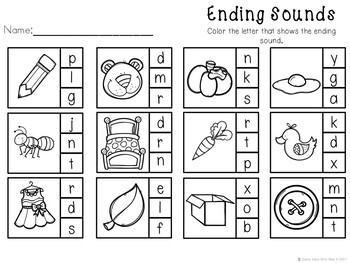 Kindergarten Literacy Center - Ending Sound Clip Cards