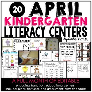 Kindergarten Literacy Centers {April}