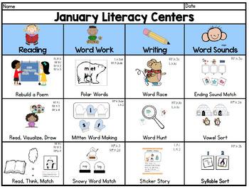 Kindergarten Literacy Centers BUNDLE