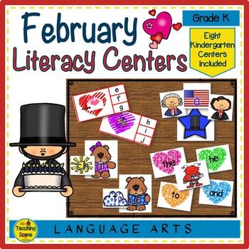 Kindergarten Literacy Centers: Eight February Themed Centers & Activities