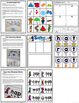 Kindergarten Literacy Centers January