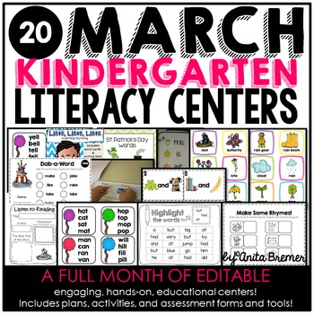 Kindergarten Literacy Centers {March}
