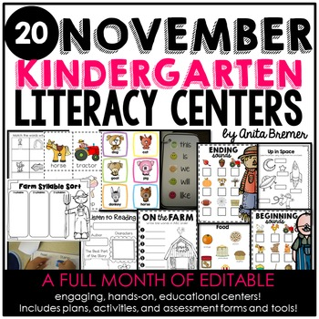 Kindergarten Literacy Centers {November}