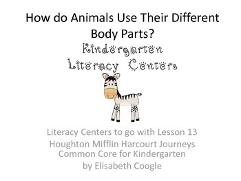 Kindergarten Literacy Centers for Harcourt Journey Week 13; Zebras
