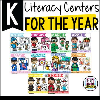 Kindergarten Literacy Centers for the Year Bundle