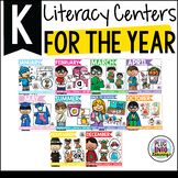 Kindergarten Literacy Centers for the Year Bundle