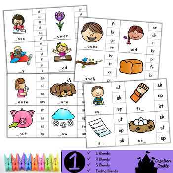 First Grade Literacy Clip Cards Center Bundle