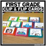 First Grade Literacy Clip Cards Center Bundle