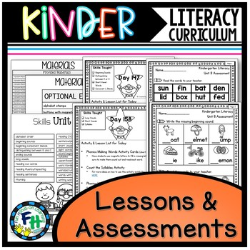 Kindergarten Literacy Curriculum Lessons & Assessments ONLY