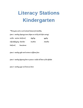 Kindergarten Literacy Matching Games