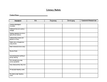 Kindergarten Literacy Rubric