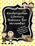Kindergarten Literacy Stations for November with BONUS Calendar Pieces