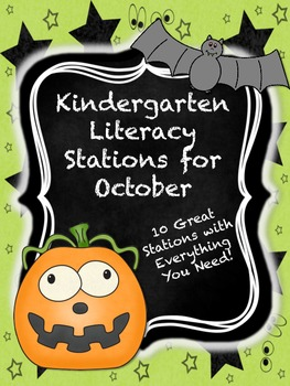 Kindergarten Literacy Stations for October with BONUS Cale
