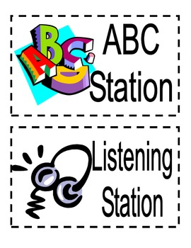 Kindergarten Literacy Work Station Signs