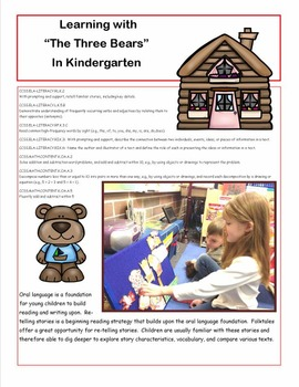 Kindergarten Literacy and Math with The Three Bears