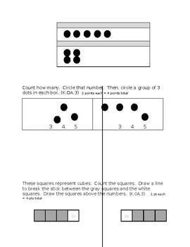 Kindergarten MATH Assessment - K.CC.4, K.CC.5, K.OA.3  - COUNTING