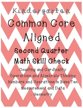 Kindergarten MATH Common Core Aligned Skill Check SECOND QUARTER