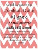 Kindergarten MATH Common Core Aligned Skill Check SECOND QUARTER