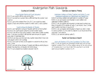 """Kindergarten MATH Common Core """"I Can"""" Classroom Posters and Statement Cards"""