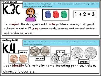 Kindergarten MATH TEKS Illustrated I CAN Statements
