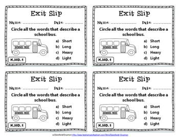 Kindergarten MD Exit Slips: Measurement & Data Exit Tickets Kindergarten