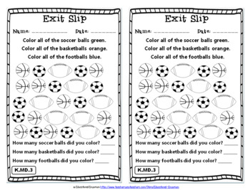 Kindergarten MD Exit Slips: Measurement & Data Exit Tickets Kindergarten