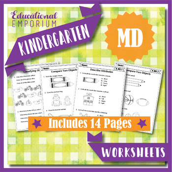 Kindergarten MD Worksheets: Measurement & Data Worksheets, Kindergarten