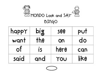Kindergarten MONDO Look and Say Word BINGO