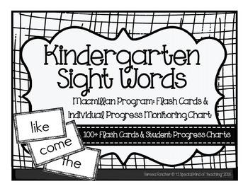 Kindergarten: MacMillan McGraw-Hill Sight Word Flash Cards & Progress Monitoring