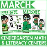 Kindergarten March Math & Literacy Centers Bundle
