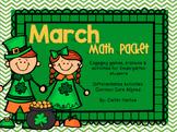 Kindergarten March Math Packet - Stations, Activities, Min