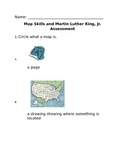 Kindergarten Martin Luther King Jr. and Map Skills Assessment