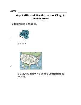 Kindergarten Martin Luther King Jr. and Map Skills Assessment