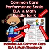 Kindergarten Marzano Aligned Common Core ELA & Math Bundle Performance Scales