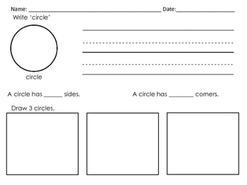 Kindergarten Math: 2-D - Shape Study Worksheets