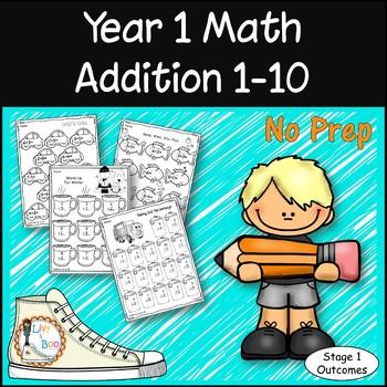 Year 1 Math - Addition 1-10 - No Prep Worksheets