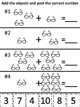 Kindergarten Math Addition Cut and Paste Worksheets by ...
