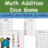 Kindergarten Math Addition Dice Game - Earth Day