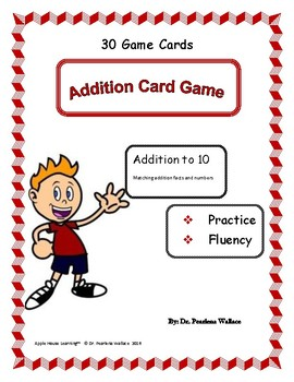Back -To-School Kindergarten Math - Addition Card Game - 30 Cards