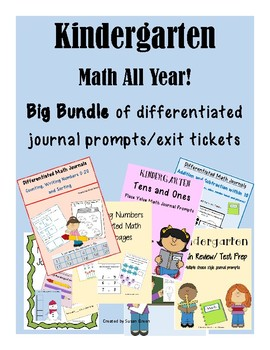 Kindergarten Math All Year!  Big Bundle Journal Prompts/Exit Tickets
